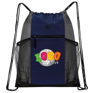 Two-Tone Multi-Pockets Drawstring Pack